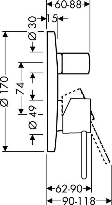 HansGrohe Uno2 Egykaros, falsík alatti kádcsaptelep színkészlet, króm / 38425000 / 38425 000