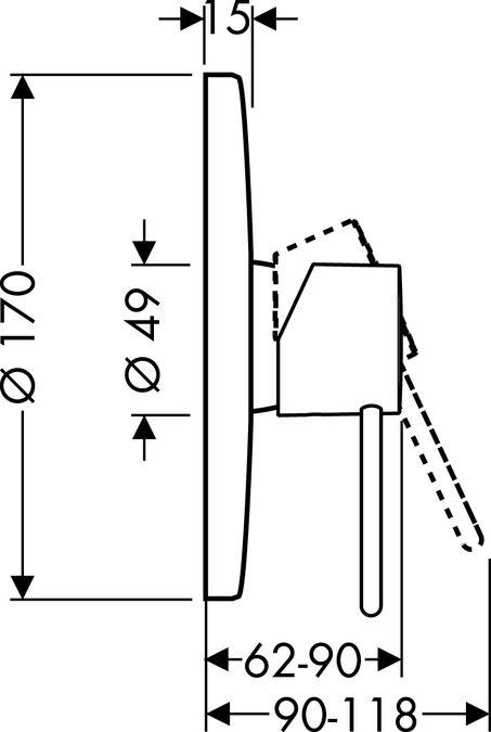 HansGrohe Uno2 Egykaros, falsík alatti zuhanycsaptelep színkészlet, króm  / 38625000 / 38625 000