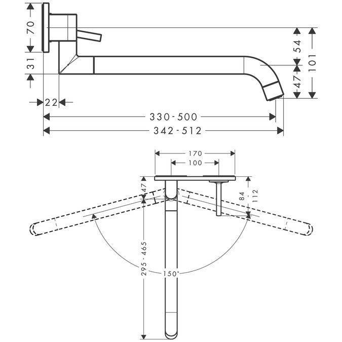 HansGrohe Axor Uno2 Egykaros fali konyhai csaptelep színkészlet falsík alatti szereléshez, rozsdamentes acél hatású / 38815800 / 38815 800