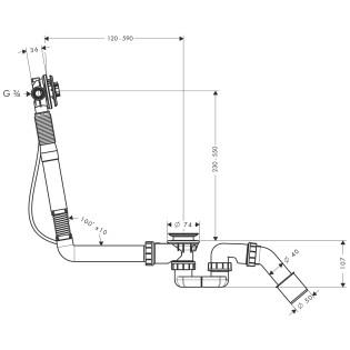 Hansgrohe Exafill S kádtöltő le- és túlfolyógarnitúra alaptest speciális kádakhoz  58116180 / 58116 180