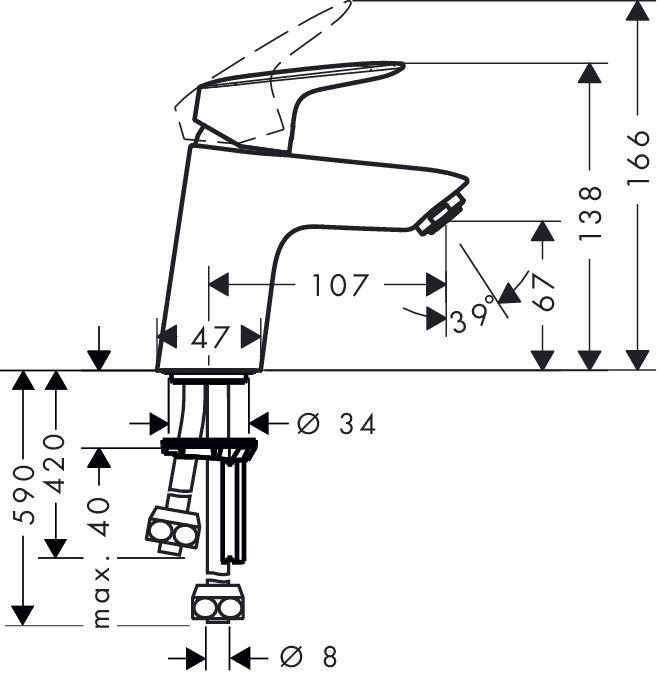Hansgrohe Logis egykaros mosdócsaptelep / push-open / lefolyó-garnitúrával / vízmelegítőkhöz / 71074 000 / 71074000