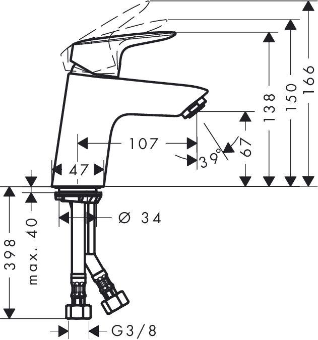 Hansgrohe Logis egykaros mosdócsaptelep / automata lefolyógarnitúra nélkül / kerámiabetéttel / 71076 000 / 71076000