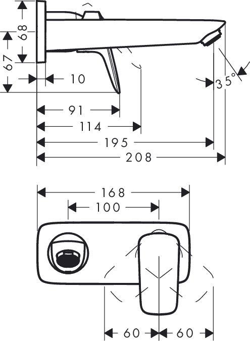 Hansgrohe Logis Egykaros mosdócsaptelep / falsík alatti szereléshez 195 mm-es kifolyóval / 71220 000 / 71220000