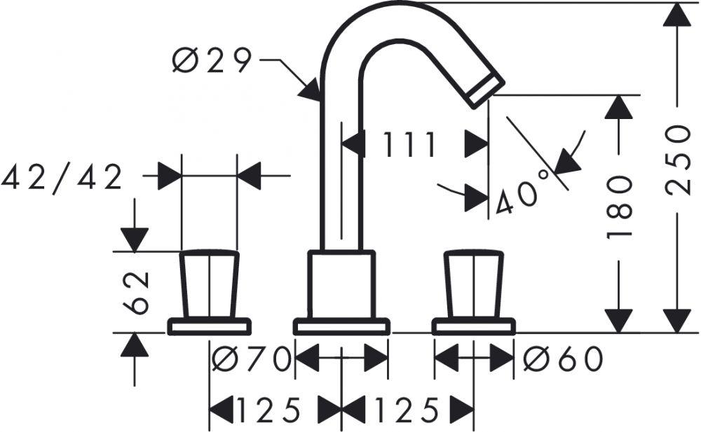 HansGrohe Logis 3-lyukú peremre szerelhető kétkaros kádcsaptelep / 71300 000 / 71300000