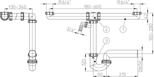 """HL126.2/50 Helytakarékos DN50/6/4"""" 2 medencés mosogatóhoz csőszifon / mosogató szifon, 2db mosógép / mosogatógép csatlakozóval"""