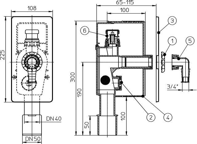 HL404.1 Mosógép-szifon falba süllyesztve / falon belüli / beépíthető, DN40/50, HL19 tömlőcsatlakozóval, beépítő házzal, 110x225 nemesacél fedéllel, légbeszívó szeleppel
