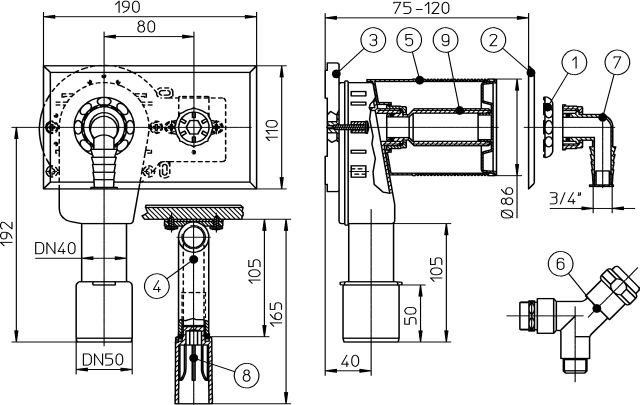 """HL406 Mosógép-szifon falba süllyesztve DN40/50, 110x180 nemesacél fedéllel, 1/2"""" légbeszívós sarokszeleppel"""