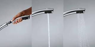 KLUDI TRENDO egykaros mosogató csaptelep, íves, kihúzható öblítőzuhannyal, króm 335810575 / 3358105-75 / 33581-05-75, álló, zuhanyfejjel