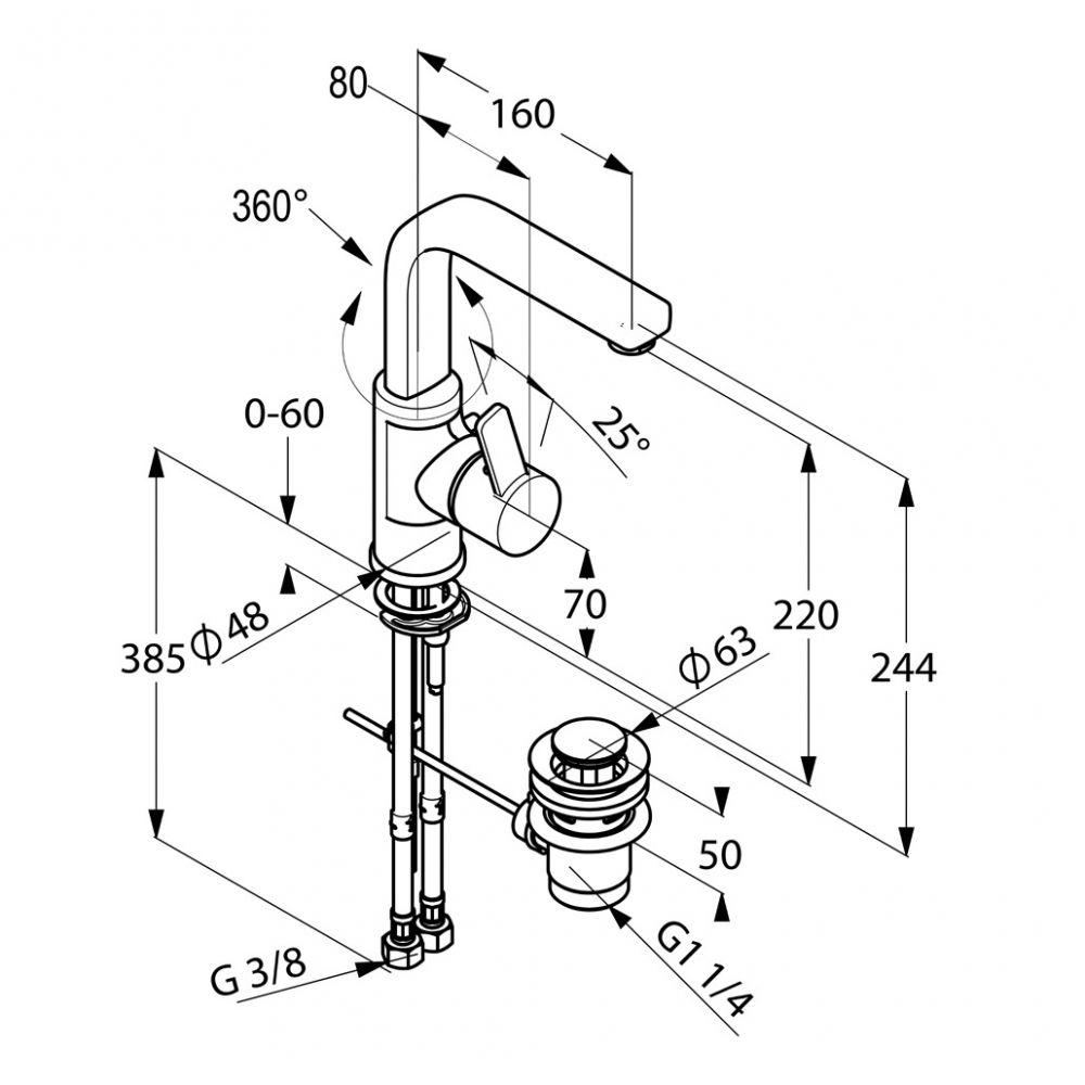 KLUDI ZENTA egykaros mosdócsaptelep elfordítható kifolyóval, lefolyó garnitúrával 420250575 / 4202505-75 / 42025-05-75