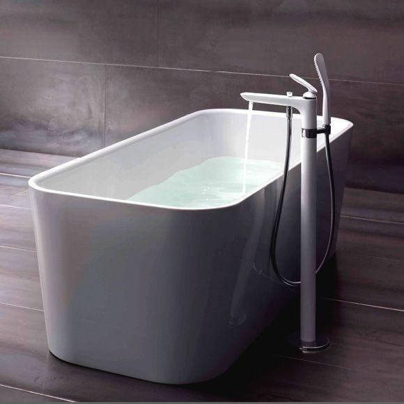 KLUDI BALANCE egykaros kádtöltő- és zuhanycsaptelep, álló szerelés szabadon álló kádakhoz, FIZZ 1S kézizuhannyal, fehér/króm 525909175 / 5259091-75 / 52590-91-75