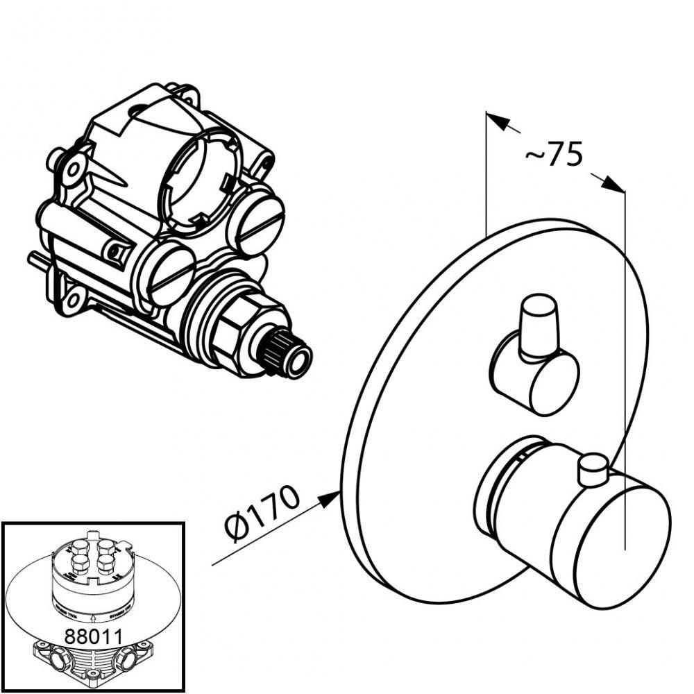 KLUDI BALANCE falsík alatti termosztátos zuhanycsaptelep, falon kívüli készlet szabályzóegységgel, fehér/króm 528359175 / 5283591-75 / 52835-91-75