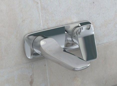 KLUDI AMBA falsík alatti, kétlyukas, fali egykaros mosdócsap, 226 mm, króm 532450575 / 5324505-75 / 53245-05-75