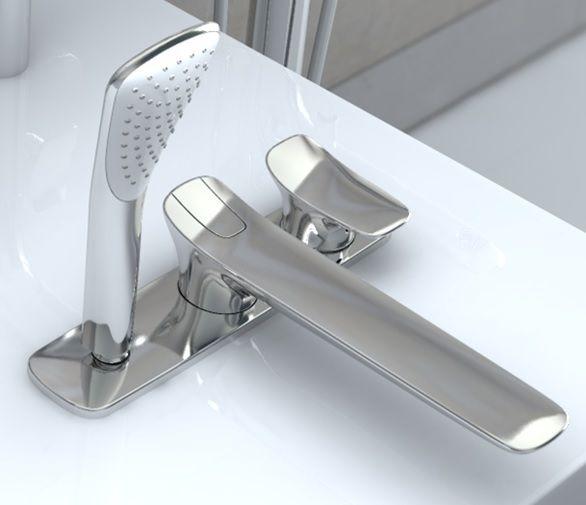 KLUDI AMBA egykaros kádtöltő- és zuhanycsap, álló szerelési mód, állítható hőfokkorlátozóval, és automatikus kád-zuhany váltóval, kihúzható kézizuhany, króm 534470575 / 5344705-75 / 53447-05-75