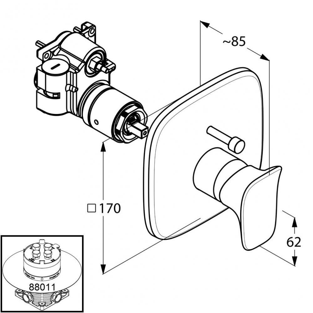 KLUDI AMBA falsík alatti egykaros kád/zuhanycsap, falon kívüli készlet szabályzóegységgel, előlappal, falra szerelhető kivitel, állítható hőfokkorlátozó, króm 536570575 / 5365705-75 / 53657-05-75
