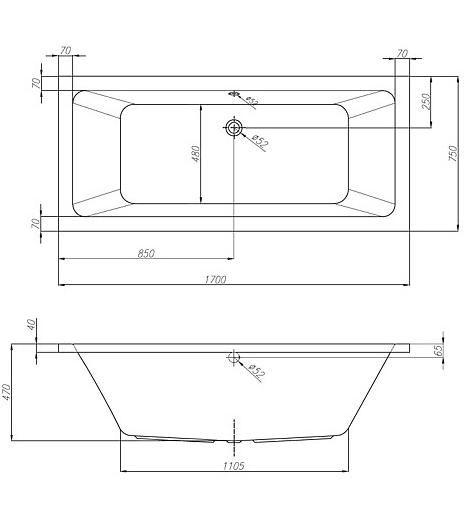 Kolpa San ELEKTRA 170x75 beépíthető egyenes / szögletes akril kád / 740670