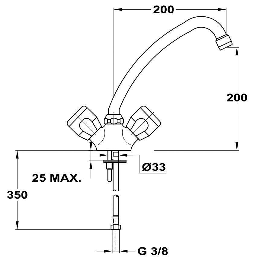 MOFÉM EUROSZTÁR álló mosogató csaptelep forgatható kifolyócsővel, kifolyócső: 200 mm, 142-2152-00 / 142215200, régi cikkszám: 142-0152-00 / 142015200