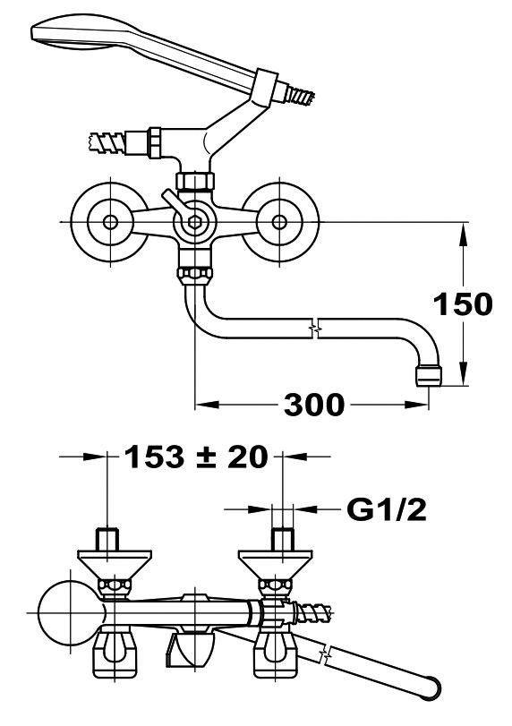 MOFÉM EUROSZTÁR fali kád-mosdó töltő / házgyári / panel / KMT / csaptelep Basic zuhanyszettel / 145-0070-00 / 145007000