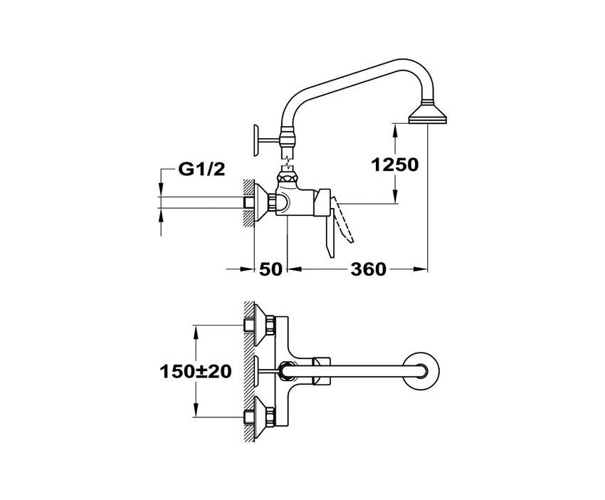 MOFÉM MAMBO-5 egykaros zuhany csaptelep felső csatlakozással fix felszálló csővel és fejzuhannyal / 153-0017-30 / 153001730