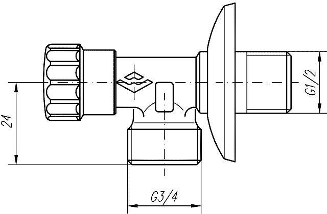 """MOFÉM Mosógéptöltő szelep / sarokszelep 1/2"""" – 3/4"""" 163-0014-00 / 163001400 / mosógépcsap / sarokcsap"""