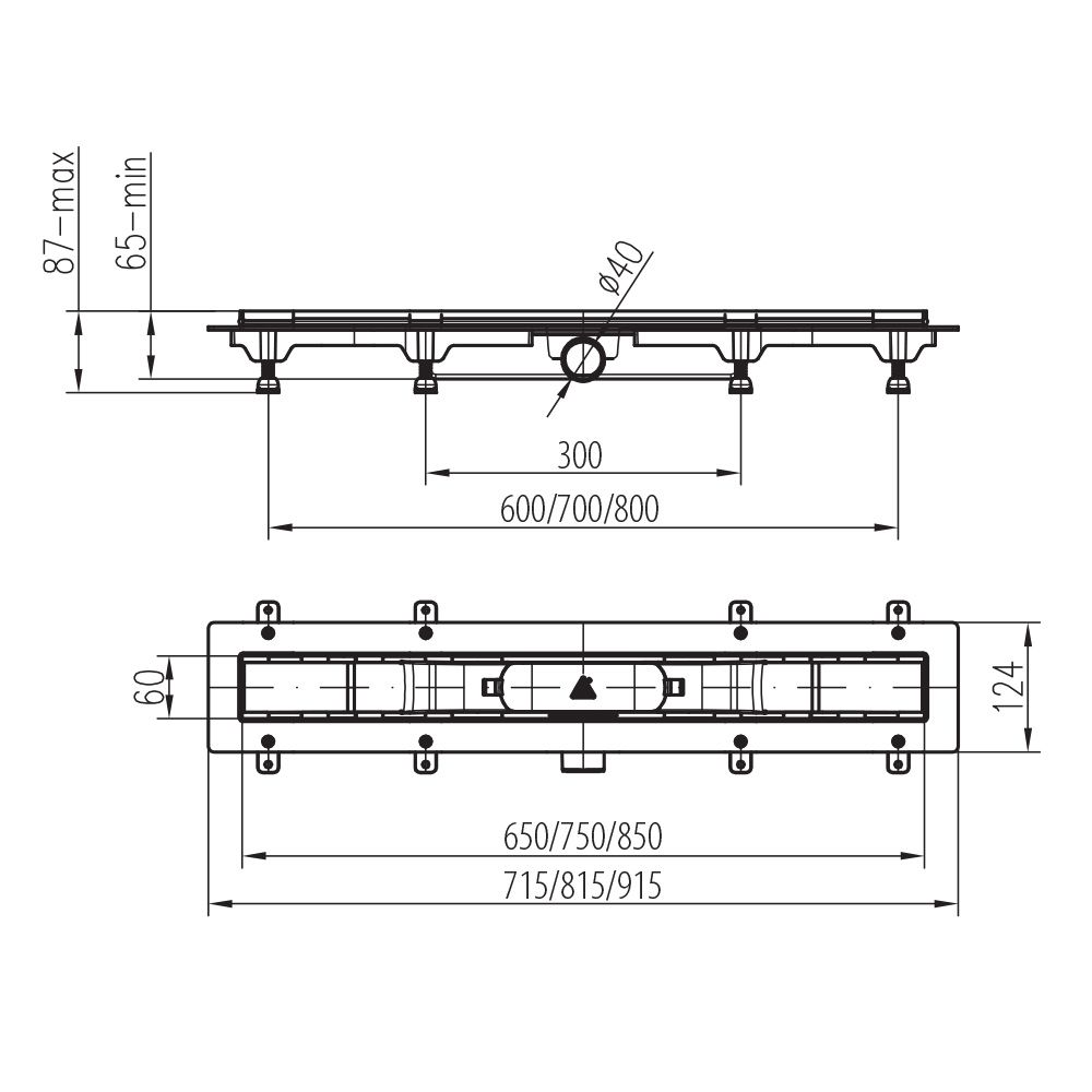 MOFÉM / TEKA Linear MLP-850 KF padlósíkra építhető lefolyó / zuhanylefolyó szett, minta nélküli ráccsal, 501-0004-00 / 501000400
