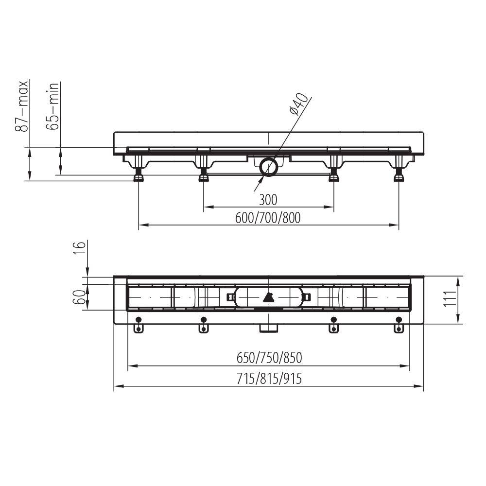 MOFÉM / TEKA Linear MLS-650 D padlósíkra építhető lefolyó / zuhanylefolyó szett, Drops ráccsal, SAROK 501-0005-02 / 501000502