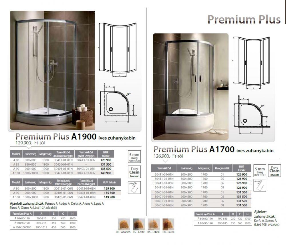 RADAWAY Premium Plus A 1900 A100 íves zuhanykabin 1000x1000x1900 mm / 06 fabrik üveg / 30423-01-06N