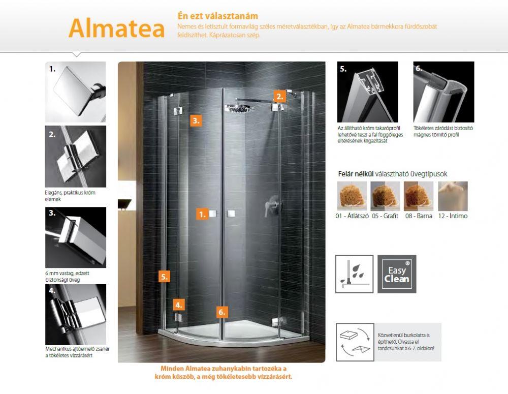 RADAWAY Almatea PDD 80 negyedköríves / íves / szimmetrikus zuhanykabin 800x800x1950 mm / 01 átlátszó üveg / 30512-01-01N