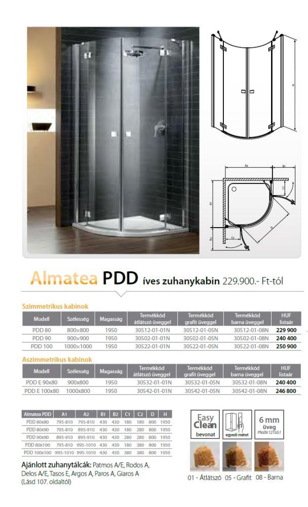 RADAWAY Almatea PDD E 90x80 negyedköríves / íves / szimmetrikus zuhanykabin 900x800x1950 mm / 01 átlátszó üveg / 30532-01-01N