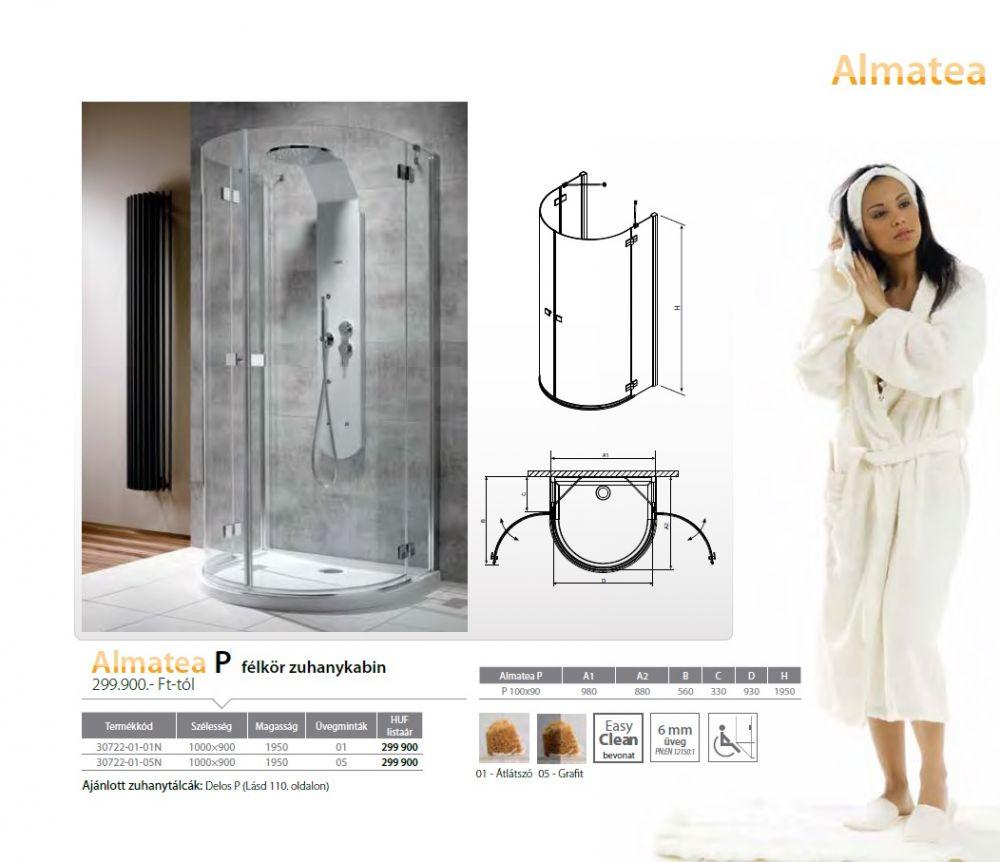 RADAWAY Almatea P félkör zuhanykabin 1000x900x1950 mm  / 05 grafit üveg / 30722-01-05N