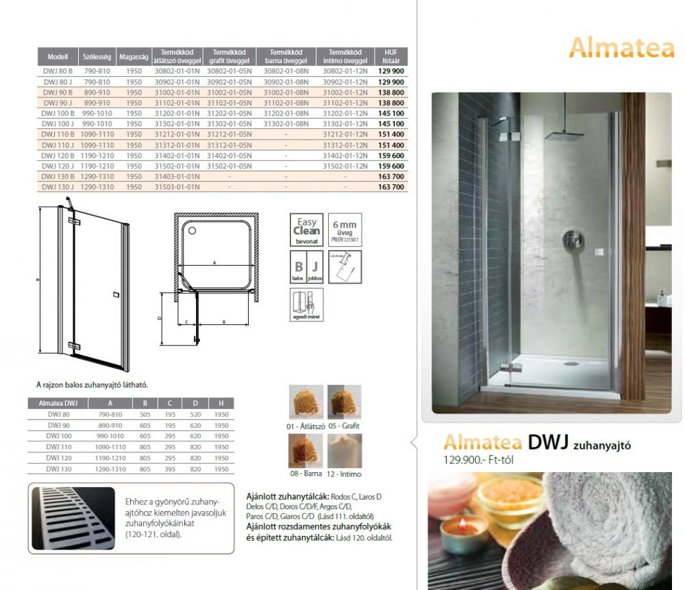 RADAWAY Almatea DWJ 110 B kifelé nyíló zuhanyajtó 1090x1110x1950 mm  / bal, Balos / 01 átlátszó üveg / 31212-01-01N