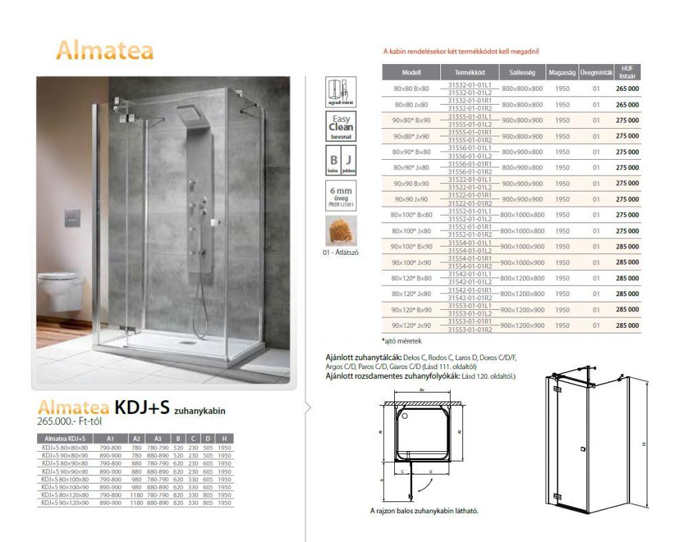 RADAWAY Almatea KDJ+S 90×80* B×90 zuhanykabin 900x800x900x1950 mm / bal, balos / 01 átlátszó üveg / 31555-01-01L1, 31555-01-01L2