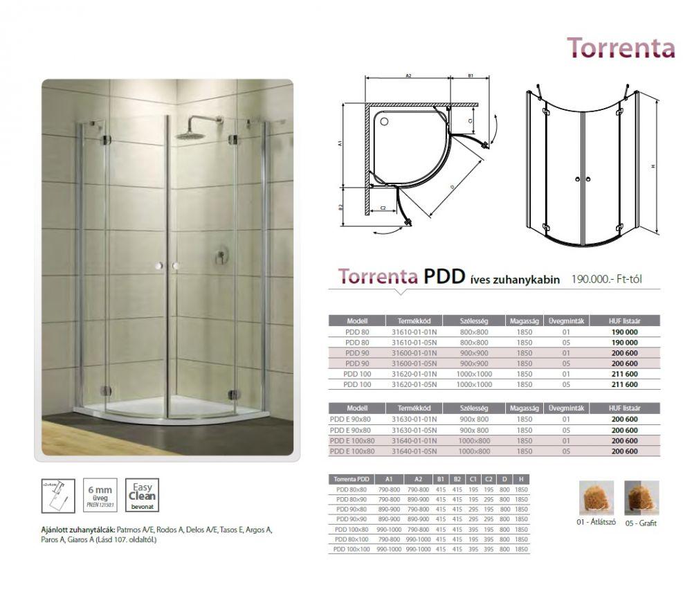 RADAWAY Torrenta PDD E 100x80 íves zuhanykabin 1000x800x1850 mm / 01 átlátszó üveg / bal, balos / 31640-01-01N
