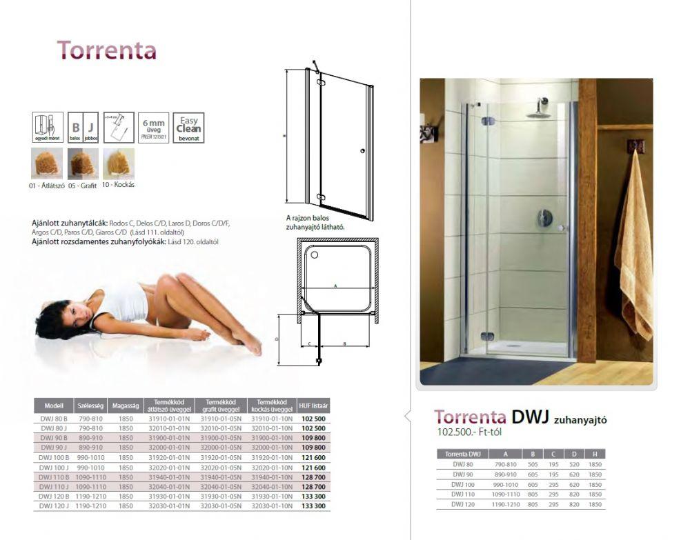 RADAWAY Torrenta DWJ 90 J  zuhanyajtó 890x910x1850 mm / jobb, jobbos / 05 grafit üveg / 32000-01-05N