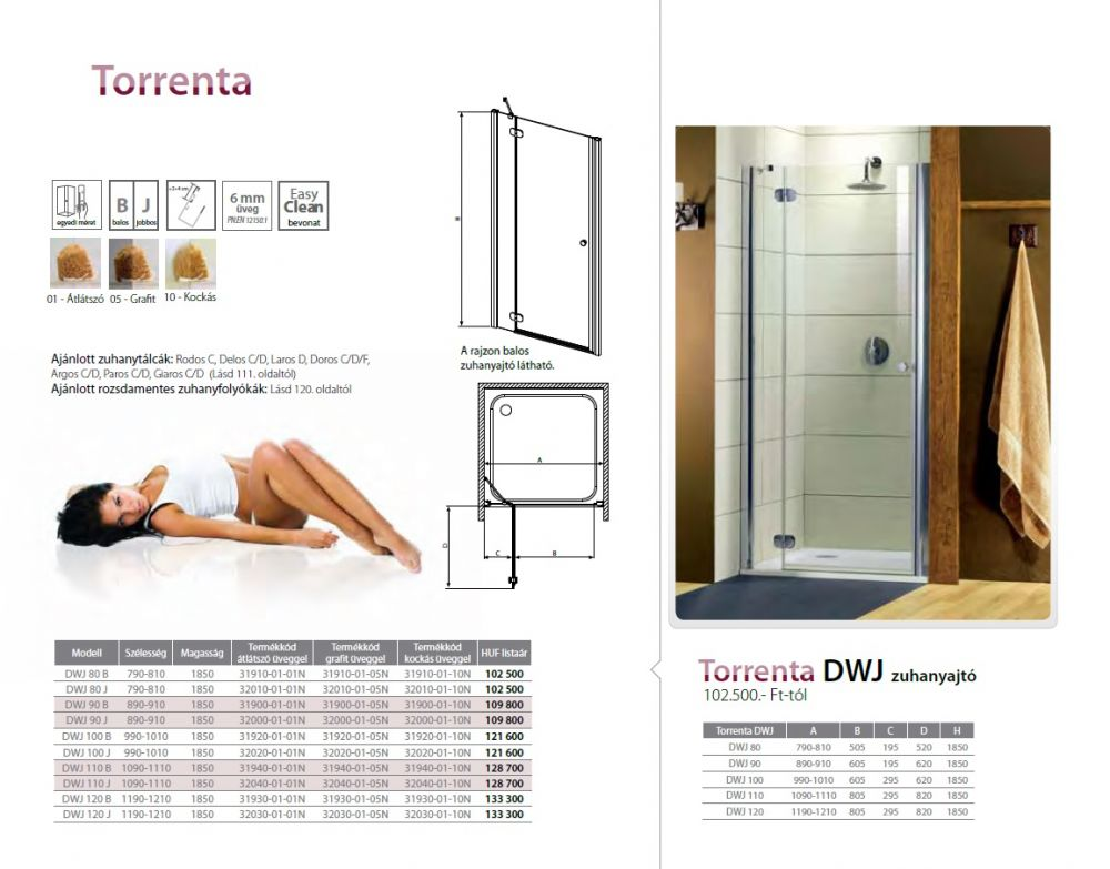RADAWAY Torrenta DWJ 110 J  zuhanyajtó 1090x1110x1850 mm / jobb, jobbos / 05 grafit üveg / 32040-01-05N