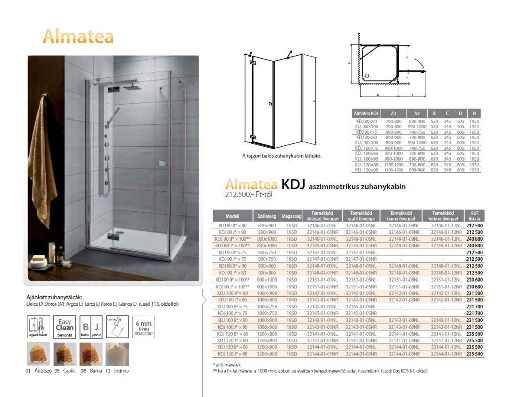 RADAWAY Almatea KDJ 80 J*×100** aszimmetrikus zuhanykabin 800x1000x1950 mm / jobb, jobbos/ 01 átlátszó üveg / 32149-01-01NR