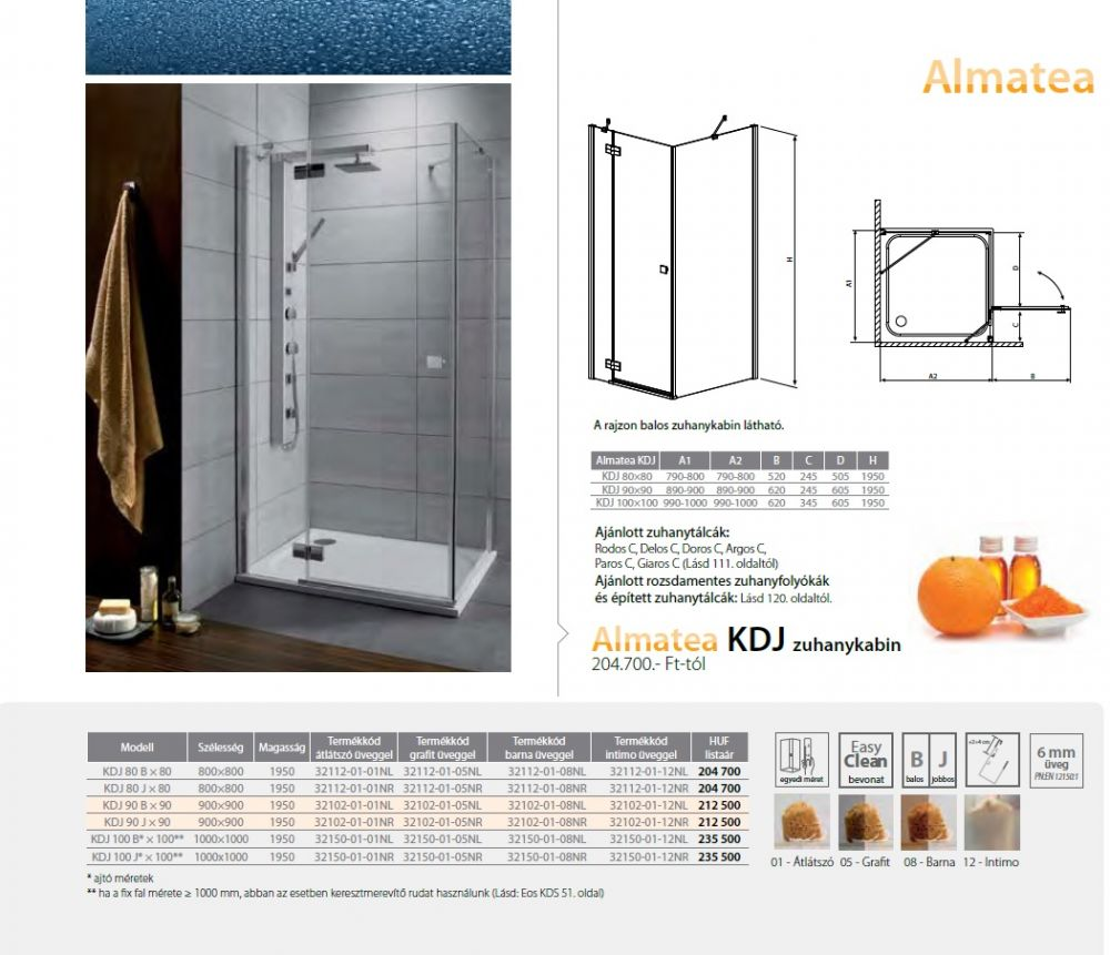 RADAWAY Almatea KDJ 100 J* × 100** zuhanykabin 1000x1000x1950 mm / jobb, jobbos / 08 barna üveg / 32150-01-08NR