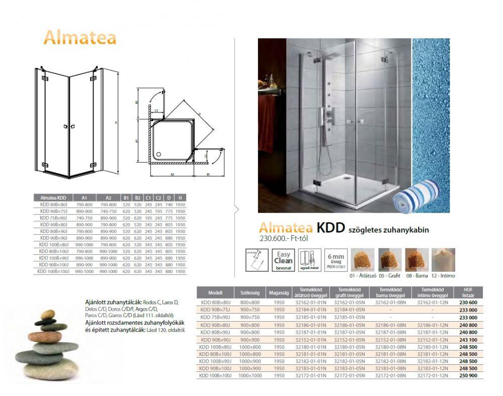 RADAWAY Almatea KDD 100B×90J szögletes zuhanykabin 1000x900x1950 / 12 intimo üveg / 32182-01-12N