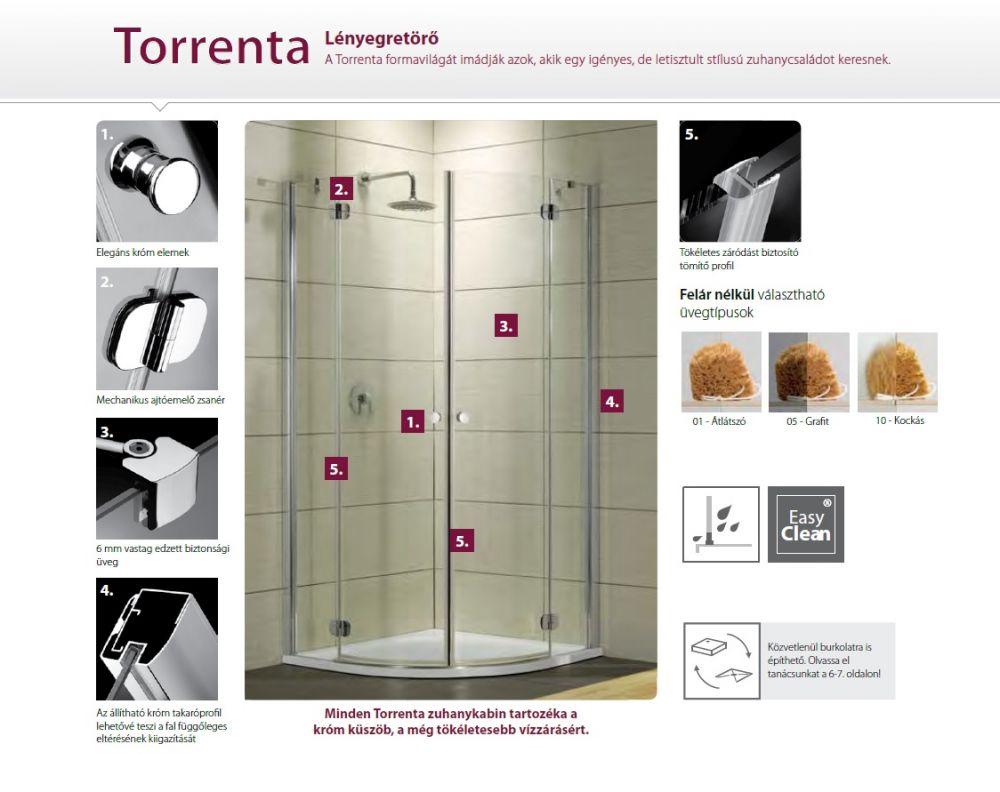 RADAWAY Torrenta KDJ 80 J* × 90 szögletes zuhanykabin 800x900x1850 mm / jobb, jobbos / 01 átlátszó üveg / 32247-01-01NR