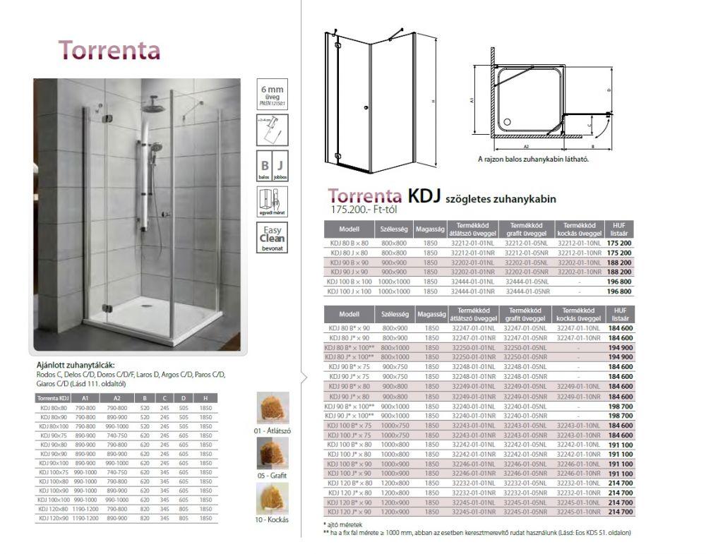 RADAWAY Torrenta KDJ 90 J* × 80 szögletes zuhanykabin 900x800x1850 mm / jobb,jobbos / 01 átlátszó üveg / 32249-01-01NR