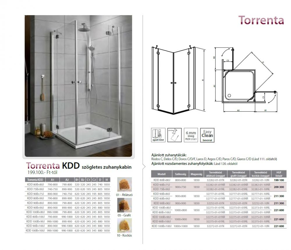 RADAWAY Torrenta KDD 90B×90J szögletes zuhanykabin 900x900x1850 mm / bal, balos / 01 átlátszó üveg / 32252-01-01N
