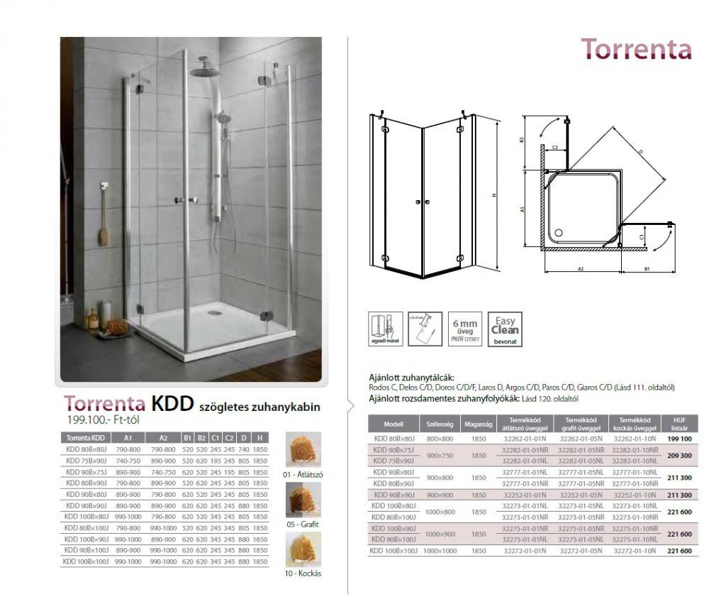 RADAWAY Torrenta KDD 80B×90J szögletes zuhanykabin 900x800x1850 mm / jobb, jobbos / 01 átlátszó üveg / 32777-01-01NR