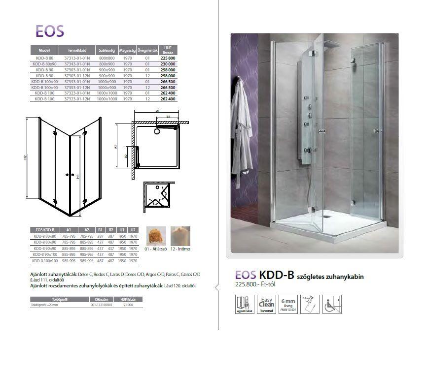 RADAWAY EOS KDD-B 80x90 szögletes / téglatest alapú zuhanykabin 800x900x1970 mm / 01 átlátszó üveg / 37343-01-01N