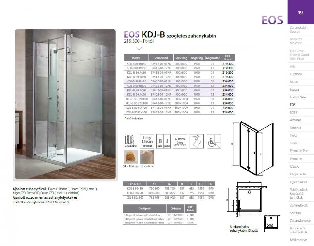 RADAWAY EOS KDJ-B szögletes / négyzet alapú zuhanykabin 800x800x1970 mm bal / balos / 01 átlátszó üveg / 37413-01-01NL
