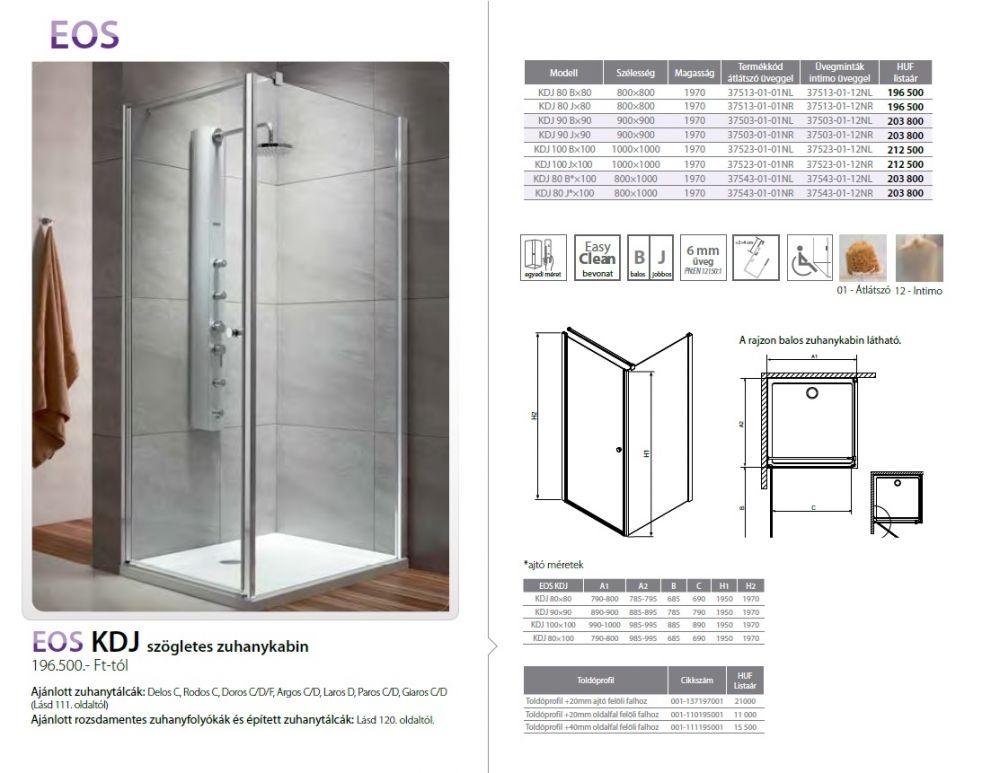 RADAWAY EOS KDJ 80 B×100 szögletes / négyzet alapú zuhanykabin 800x1000x1970 mm bal / balos / 01 átlátszó üveg / 37543-01-01NL