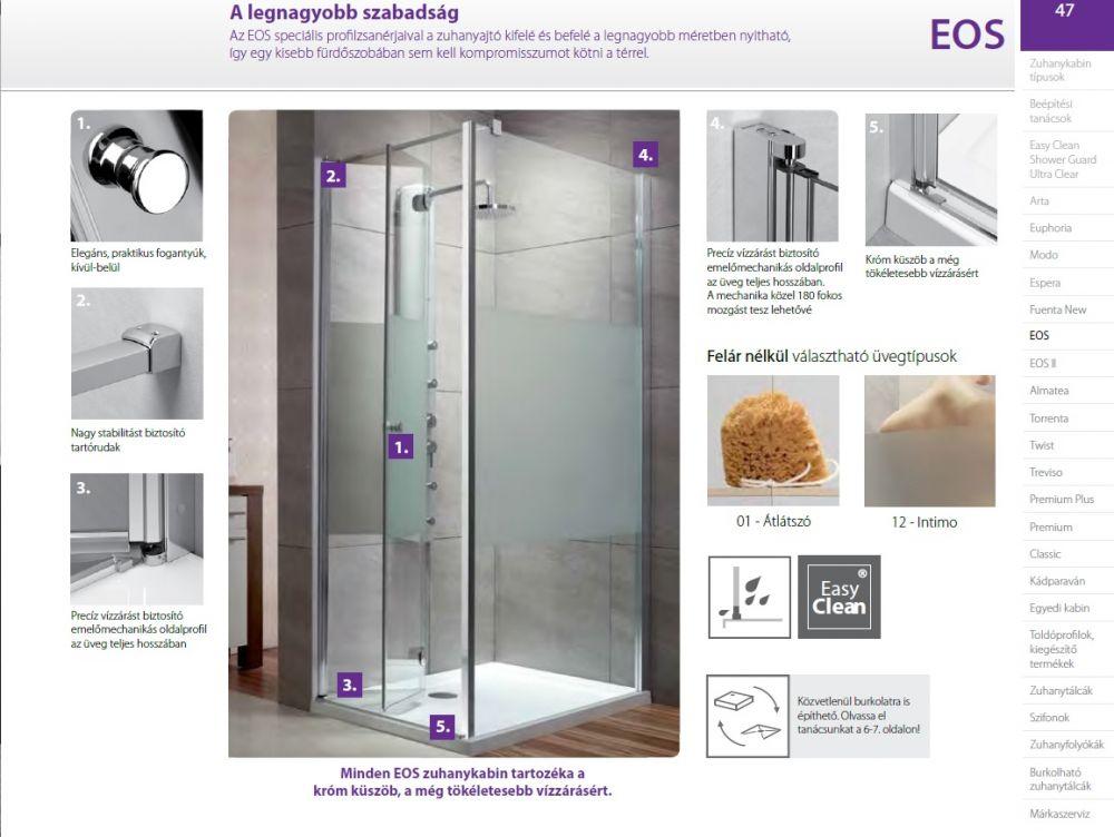 RADAWAY EOS KDS 140 J*×90 szögletes / téglalap alapú zuhanykabin 1400×900x1970 mm jobb / jobbos / átlátszó üveg / 37557-01-01-NR