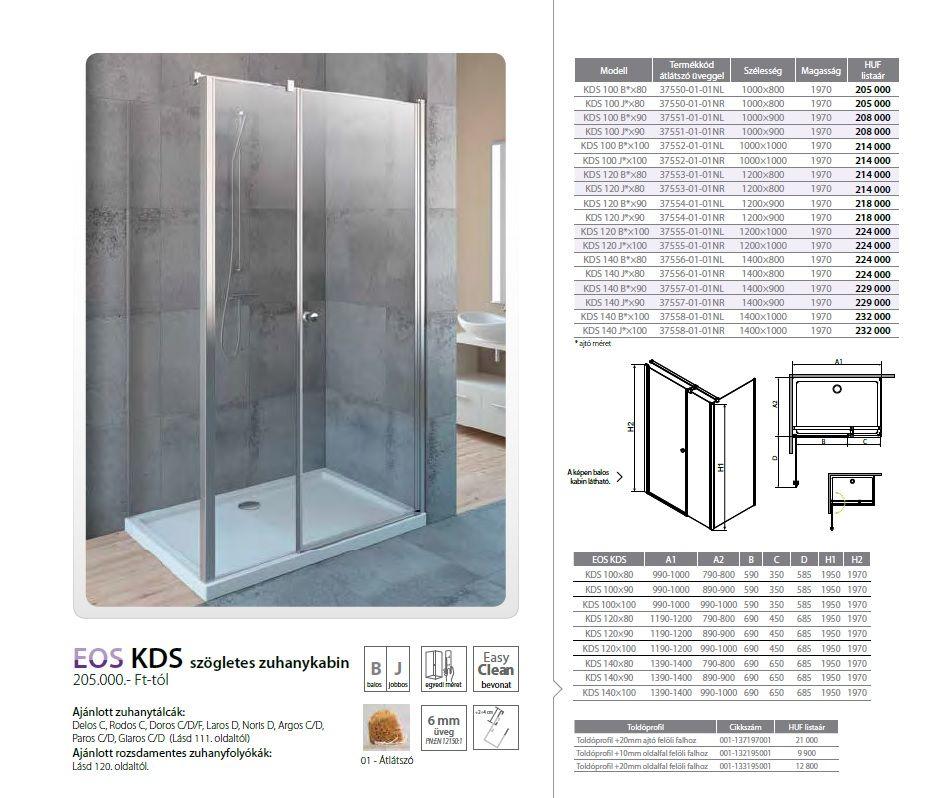 RADAWAY EOS KDS 140 J*×100 szögletes / téglalap alapú zuhanykabin 1400×1000x1970 mm jobb / jobbos / átlátszó üveg / 37558-01-01-NR