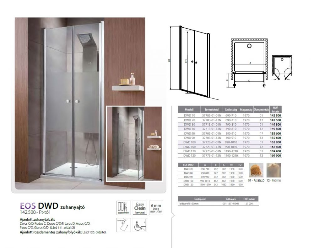 RADAWAY EOS DWD 120 zuhanyajtó / dupla lengőajtós 1190x1210x1970 mm / 01 átlátszó / 37773-01-01N