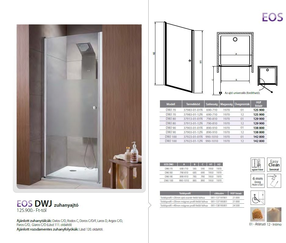 RADAWAY EOS DWJ 100 zuhanyajtó / lengőajtós 990x1010x1970 mm / 12 intimo / 37923-01-12N