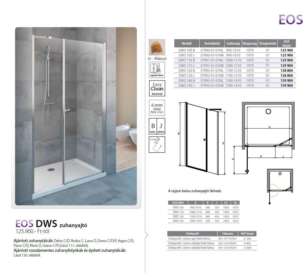 RADAWAY EOS DWS 110 B osztott zuhanyajtó / lengőajtós, 1090x1110x1970 mm, bal / balos / 01 Átlátszó üveg / 37991-01-01NL