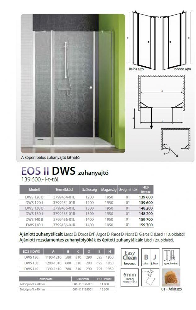 RADAWAY EOS II DWS 140 J kifelé-befelé nyíló zuhanyajtó / 1400x1950 mm, jobb / jobbos / 01 Átlátszó üveg / 3799456-01R